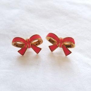 Kate Spade skinny mini pink enamel bow earrings 💫